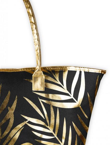 Τσάντα θαλάσσης μαύρο με χρυσό σχέδιο φλοράλ