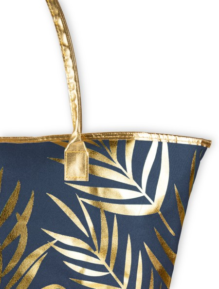 Τσάντα θαλάσσης μπλε με χρυσό σχέδιο φλοράλ