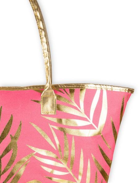 Τσάντα θαλάσσης ροζ με χρυσό σχέδιο φλοράλ