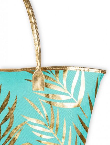 Τσάντα θαλάσσης βεραμάν με χρυσό σχέδιο φλοράλ