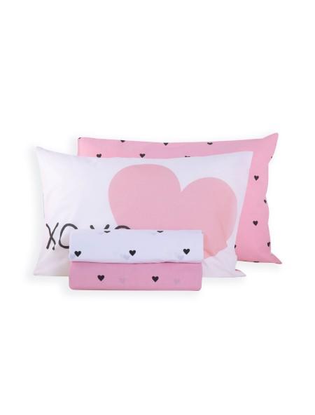 Παιδικά σεντόνια μονά σετ Happy Place Pink NEF-NEF