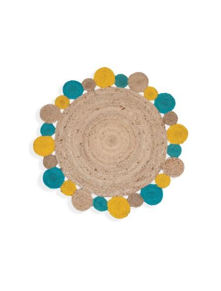 Χαλί στρογγυλό ψάθινο Jute Yellow/Aqua NEF-NEF