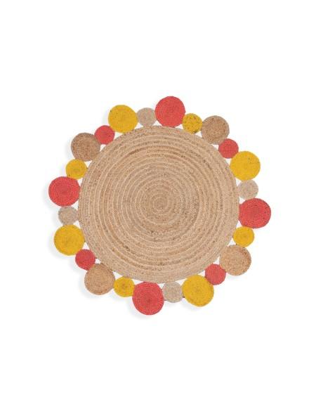 Χαλί στρογγυλό ψάθινο Jute Yellow/Coral NEF-NEF