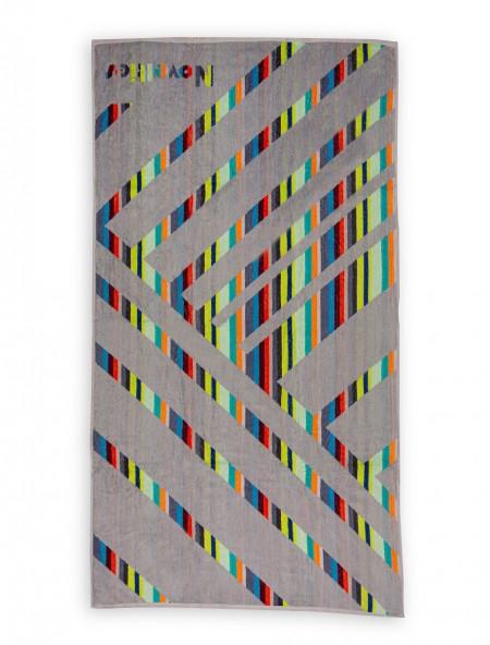 Βαμβακερή πετσέτα θαλάσσης Ριγέ Γκρι 90x170 cm