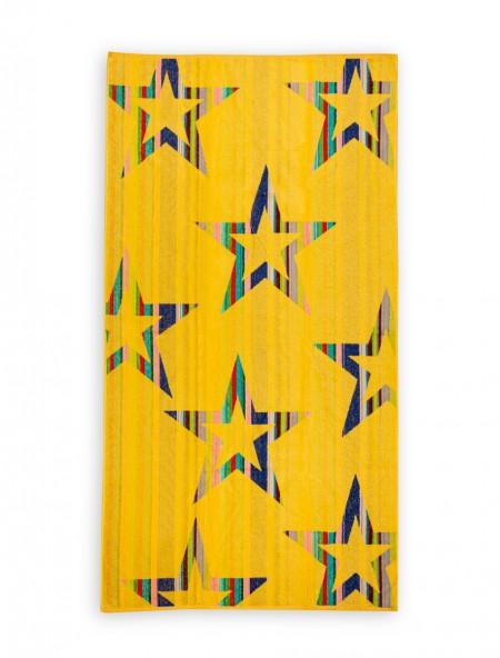 Βαμβακερή πετσέτα θαλάσσης Ριγέ Κίτρινη 90x170 cm