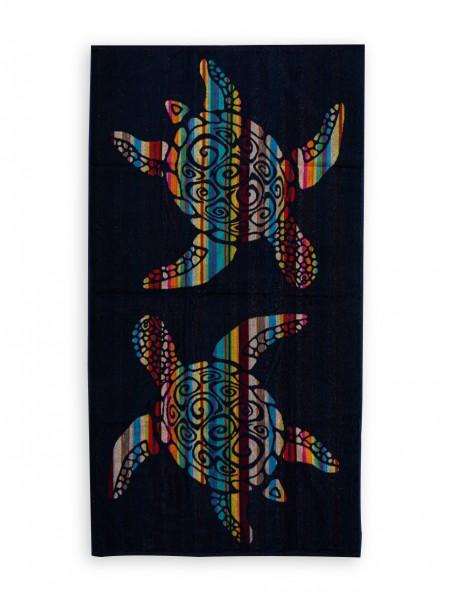 Βαμβακερή πετσέτα θαλάσσης Ριγέ Blue Black 90x170 cm