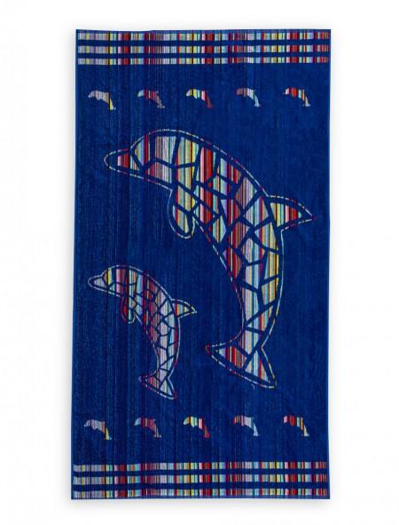 Βαμβακερή Πετσέτα Θαλάσσης Μπλε Ριγέ  90x170 cm