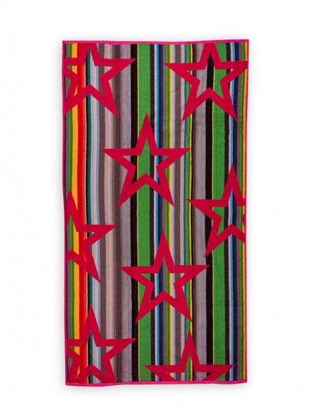 Βαμβακερή πετσέτα θαλάσσης Ριγέ Φούξια 90x170 cm