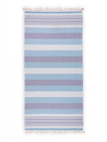 Βαμβακερή πετσέτα θαλάσσης με κρόσια Ριγέ Μπλε 80x160 cm