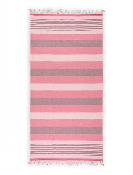 Βαμβακερή πετσέτα θαλάσσης με κρόσια Ριγέ Ροζ 80x160 cm