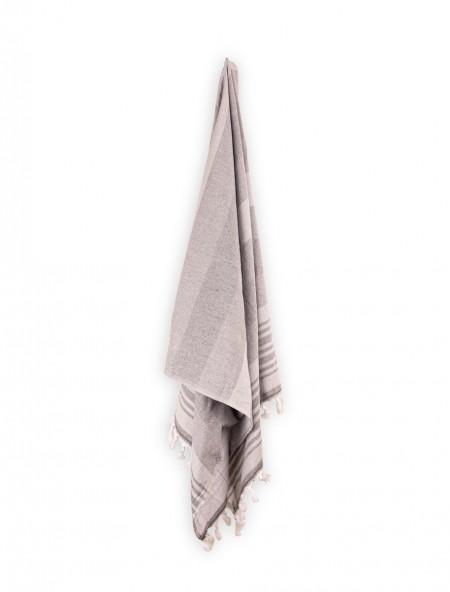 Πετσέτα θαλάσσης με κρόσια Ριγέ Γκρι 80x160 cm