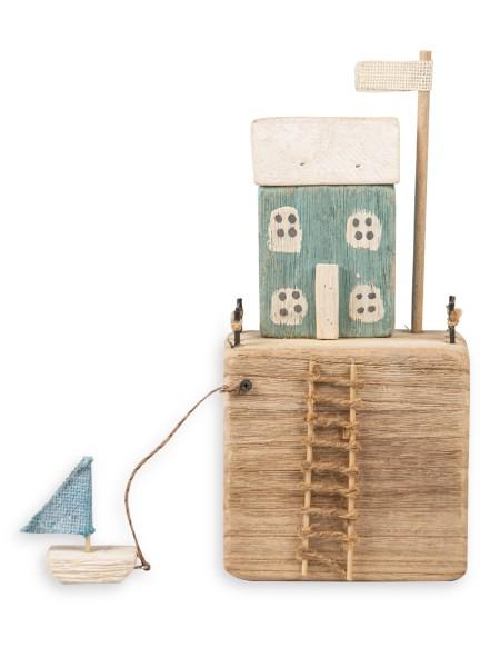 Διακοσμητικό Ξύλινο Σπίτι με βαρκούλα γαλάζιο