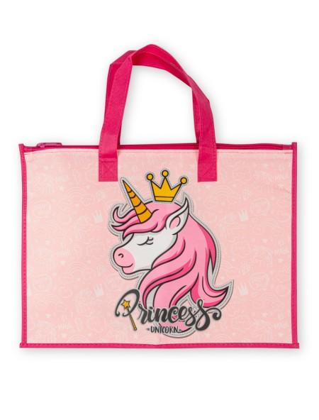 Παιδική υφασμάτινη τσάντα χειρος με φερμουάρ Ροζ