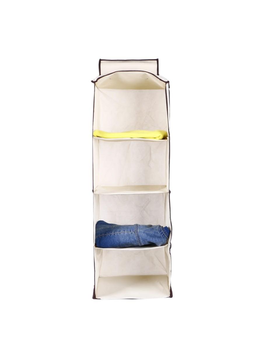 Θήκη αποθήκευσης ρούχων κρεμαστή υφασμάτινη 4 θέσεων 30x30x80cm