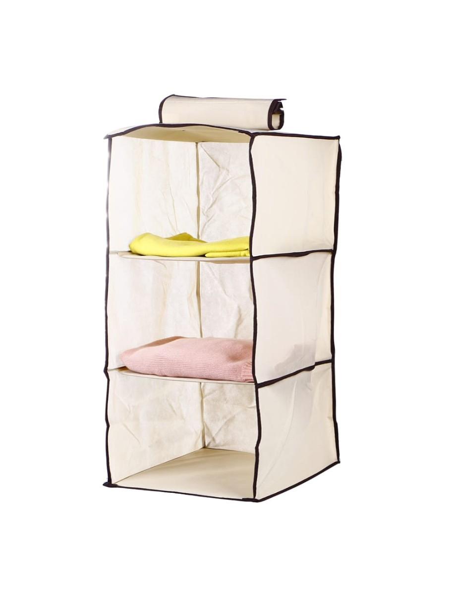 Θήκη αποθήκευσης ρούχων κρεμαστή υφασμάτινη 3 θέσεων 30x30x60cm