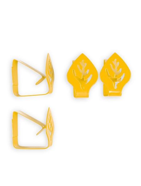 Πιαστράκια Μεταλλικά Τραπεζομάντηλου Κίτρινο σετ 4 τεμαχίων