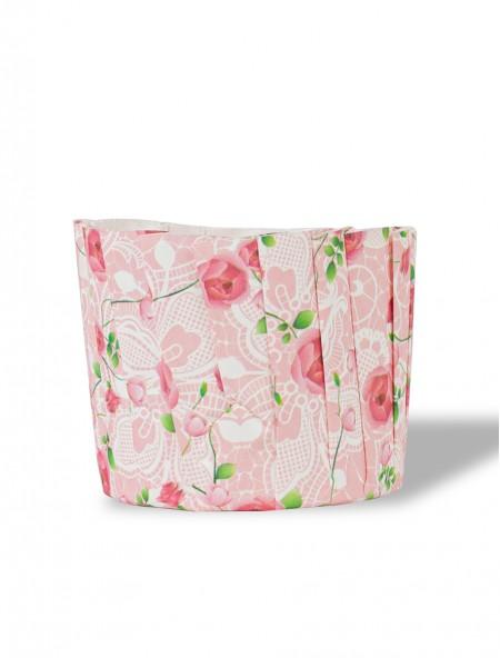Χαρτάκια πυράντοχα για cupcakes φλοράλ σετ 15 τεμάχια ροζ