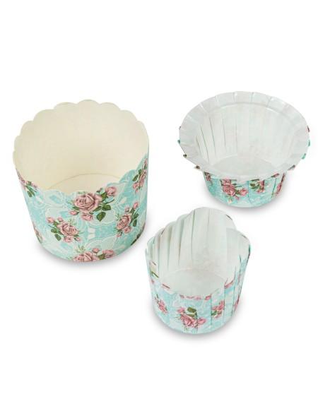 Χαρτάκια πυράντοχα για cupcakes φλοράλ σετ 15 τεμάχια γαλάζια