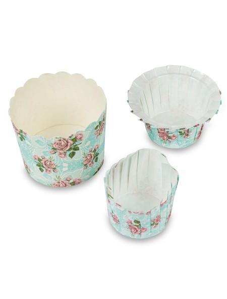 Χαρτάκια πυράντοχα για cupcakes φλοράλ σετ 12 τεμάχια γαλάζια