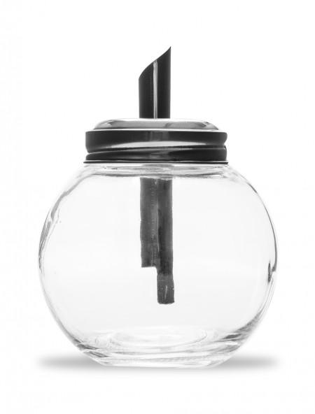 Ζαχαριέρα γυάλινη με μεταλλικό καπάκι δοσομετρητη