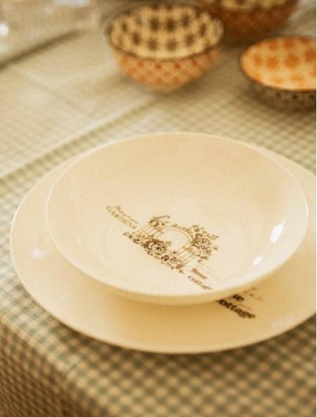 Πιάτο φαγητού πορσελάνης ρηχό με σχέδιο