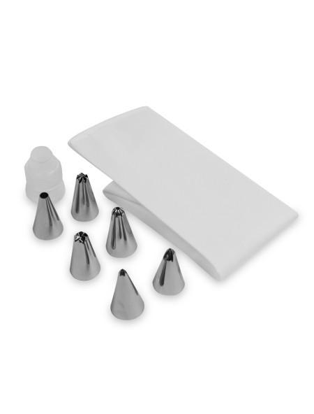 Μεταλλικές μύτες ζαχαροπλαστικής σετ 6 τεμάχια και υφασμάτινη σακούλα