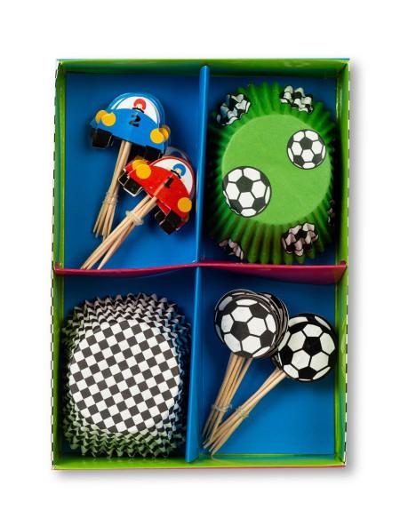 Χαρτάκια για cupcakes και οδοντογλυφίδες σετ 24 τεμαχίων