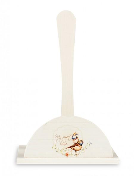 Βάση ξύλινη για ρολό κουζίνας vintage με πουλιά