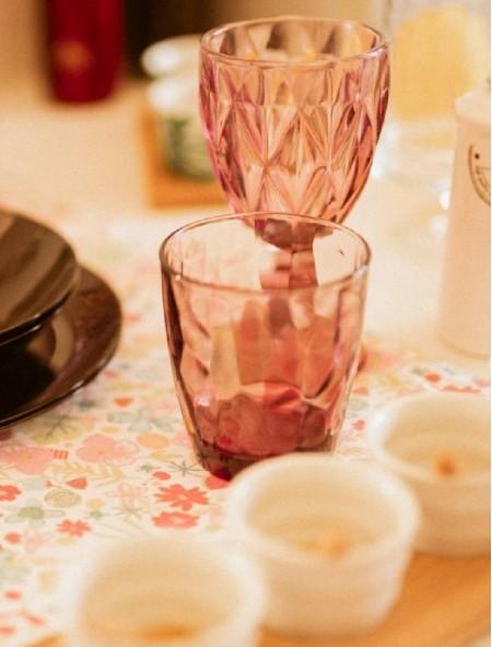 Ποτήρι γυάλινο Diamond νερού ροζ