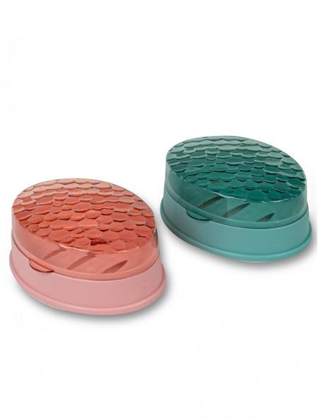 Σαπουνοθήκη πλαστική σετ 2 τεμαχίων ροζ και πράσινο