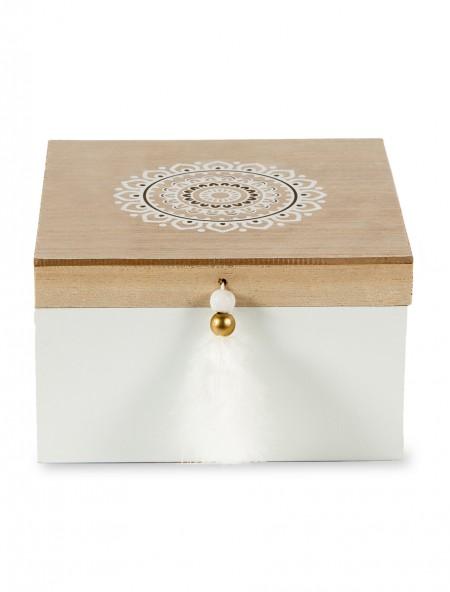 Διακοσμητικό κουτί ξύλινο αποθήκευσης στρογγυλό σχέδιο στο καπάκι