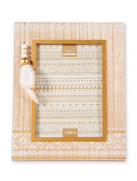 Κορνίζα ξύλινη με έθνικ ορθογώνιο σχέδιο