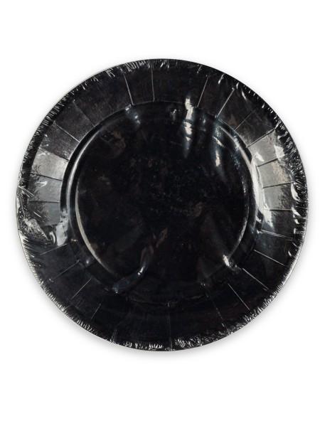 Πιάτα χάρτινα στρογγυλά μαύρα σετ 10 τεμαχίων