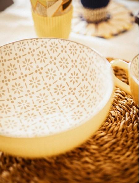 Σαλατιέρα πορσελάνης στρογγυλή κίτρινη