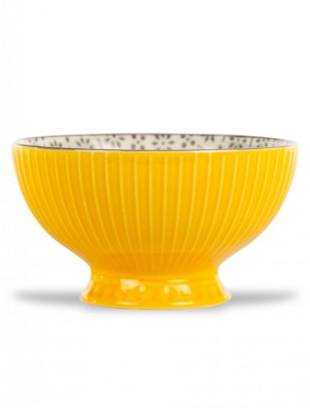 Μπολ πορσελάνης ανάγλυφο με βάση κίτρινο 16cm