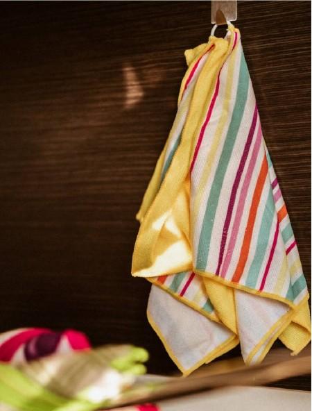 Πετσέτα κουζίνας με μικροϊνες σετ 4 τεμαχίων κίτρινη