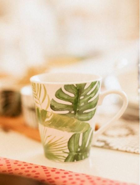 Κούπα κεραμική με φύλλα