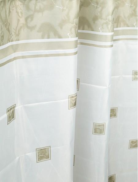Κουρτίνα μπάνιου λευκή με λαδί σχέδια
