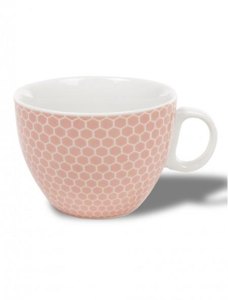 Κούπα κεραμική μεγάλη ροζ με γεωμετρικό σχέδιο