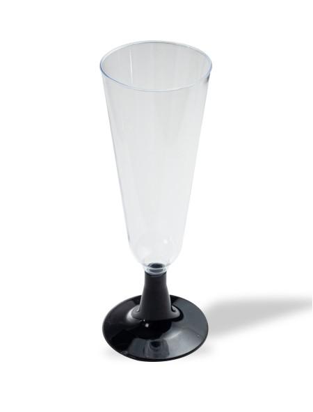 Ποτήρι πλαστικό σαμπάνιας διάφανο με μαύρη βάση σετ 6 τεμαχίων