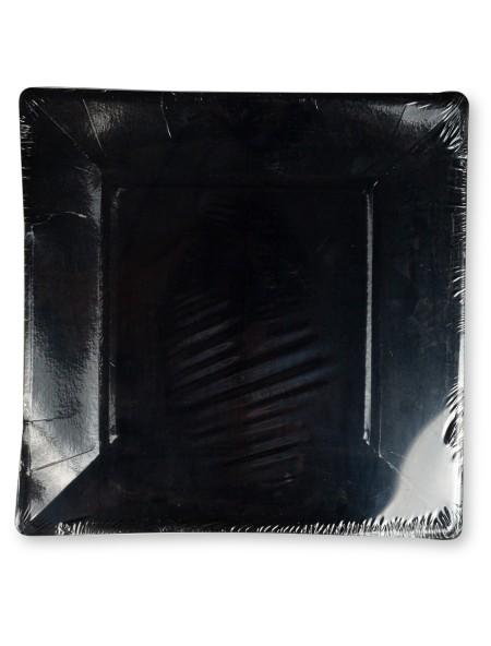 Πιάτα χάρτινα τετράγωνα μαύρα σετ 5 τεμαχίων