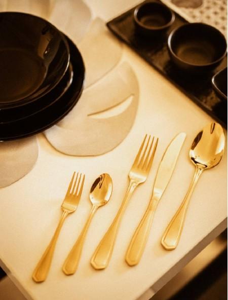 Μαχαιροπίρουνα ανοξείδωτα χρυσά Espiel σετ 30 τεμάχια