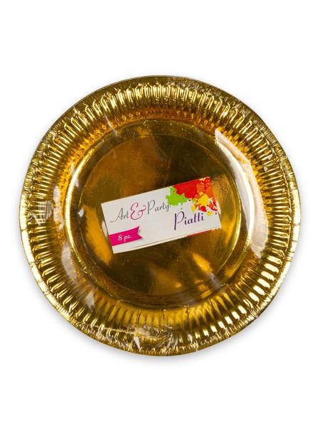 Πιάτα χάρτινα χρυσά σετ 8 τεμαχίων