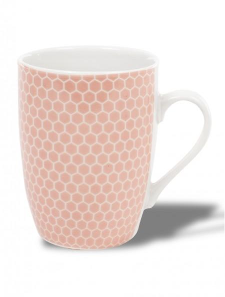 Κούπα κεραμική ροζ με γεωμετρικό σχέδιο