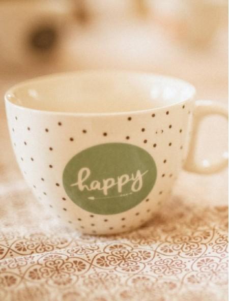 """Κούπα πορσελάνης καφέ """"Happy"""""""