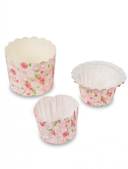Χαρτάκια πυράντοχα για cupcakes φλοράλ σετ 12 τεμάχια ροζ