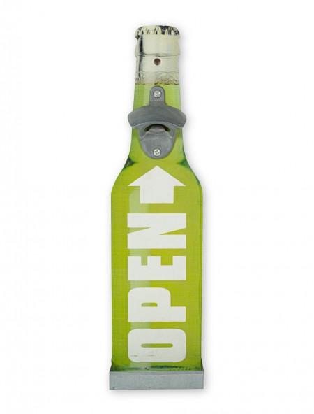 Διακοσμητικό ανοιχτήρι τοίχου ξύλινο πράσινο ''Open''