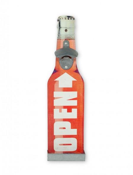 Διακοσμητικό ανοιχτήρι τοίχου ξύλινο κόκκινο ''Open''
