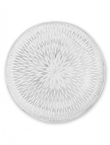 Διακοσμητικός δίσκος με ανάγλυφα σχέδια λευκός