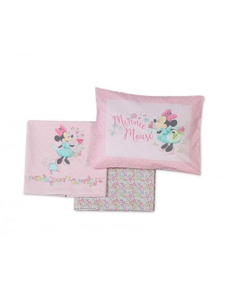 Σεντόνια κούνιας σετ 3 τεμαχίων Minnie Little Flower NEF NEF
